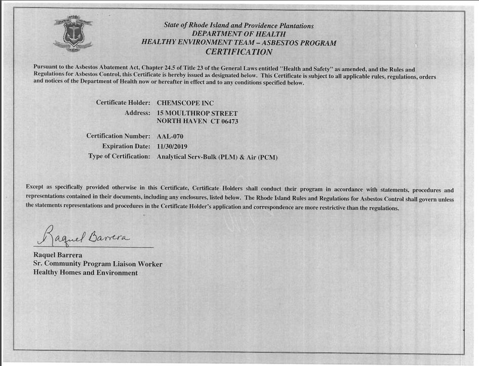 Rhode Island and Providence Plantations Asbestos