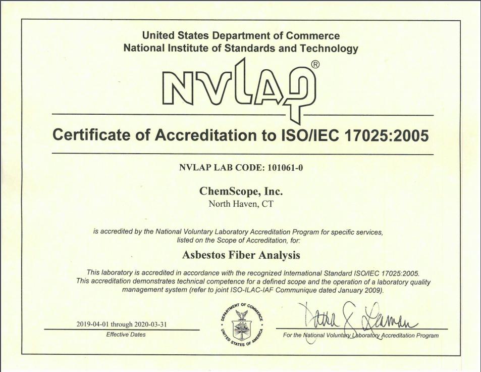 NVLAP Accreditation 2020-03-31